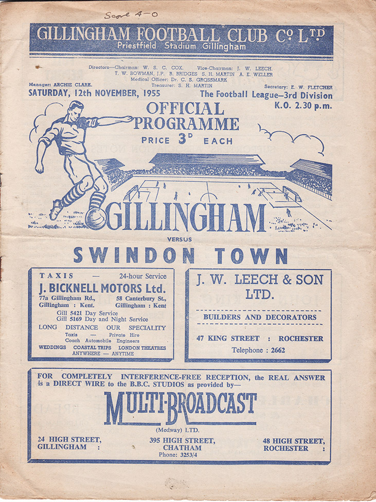 Saturday, November 12, 1955 - vs. Gillingham (Away)