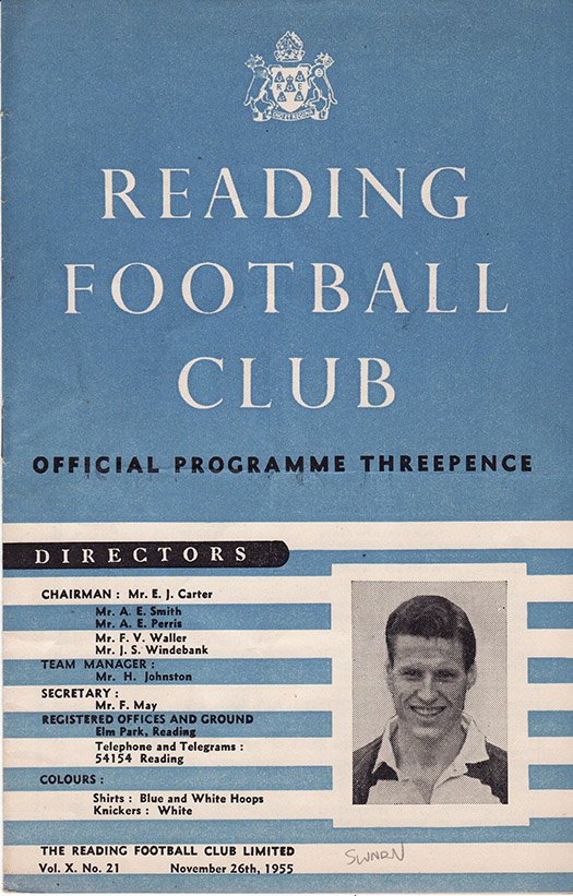 Saturday, November 26, 1955 - vs. Reading (Away)