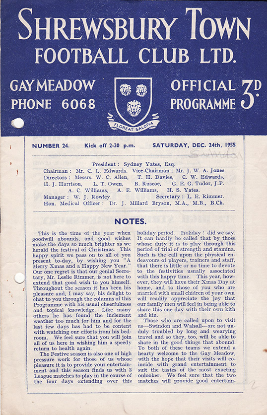 Saturday, December 24, 1955 - vs. Shrewsbury Town (Away)