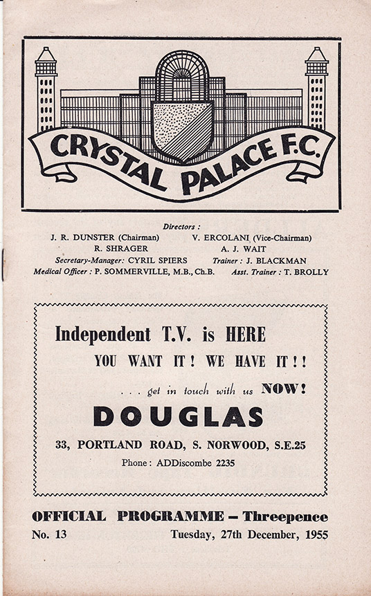 Tuesday, December 27, 1955 - vs. Crystal Palace (Away)