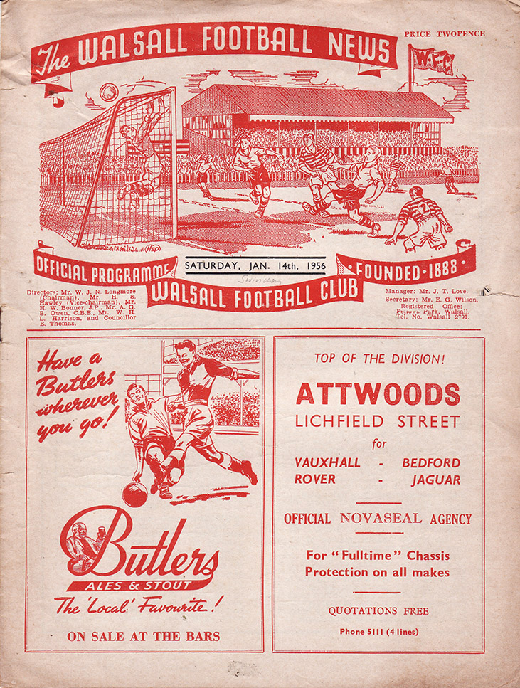 Saturday, January 14, 1956 - vs. Walsall (Away)
