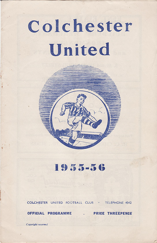 Saturday, March 3, 1956 - vs. Colchester United (Away)