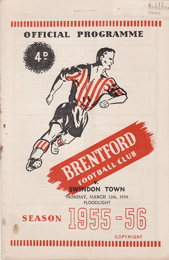 Monday, March 12, 1956 - vs. Brentford (Away)