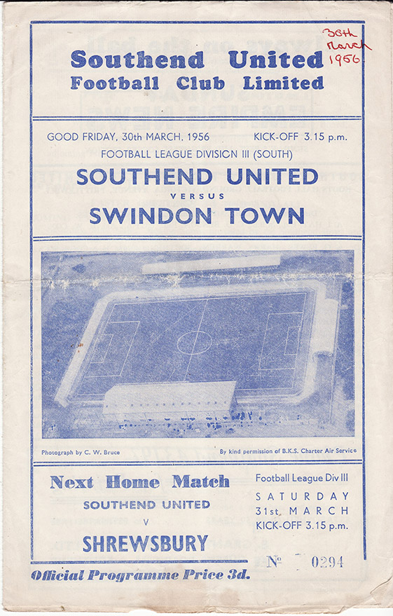 Friday, March 30, 1956 - vs. Southend United (Away)