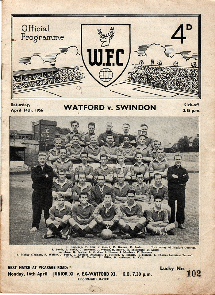 Saturday, April 14, 1956 - vs. Watford (Away)
