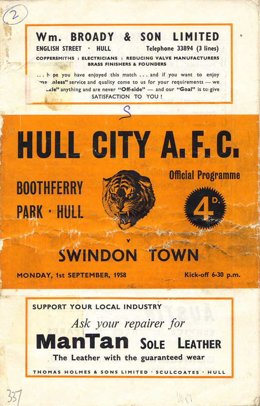 <b>Monday, September 1, 1958</b><br />vs. Hull City (Away)