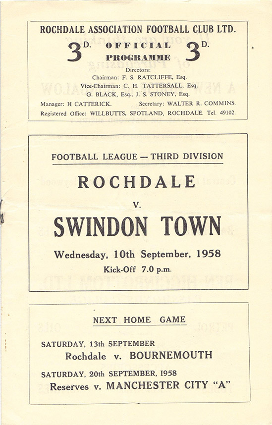 <b>Wednesday, September 10, 1958</b><br />vs. Rochdale (Away)