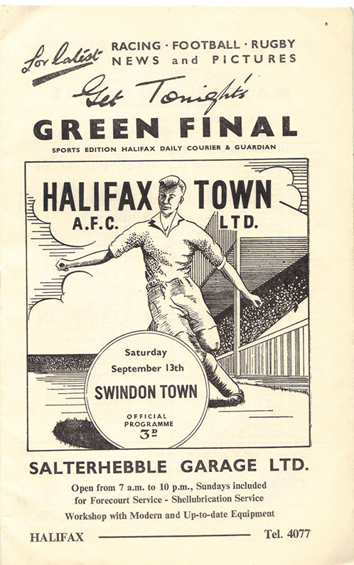 <b>Saturday, September 13, 1958</b><br />vs. Halifax Town (Away)