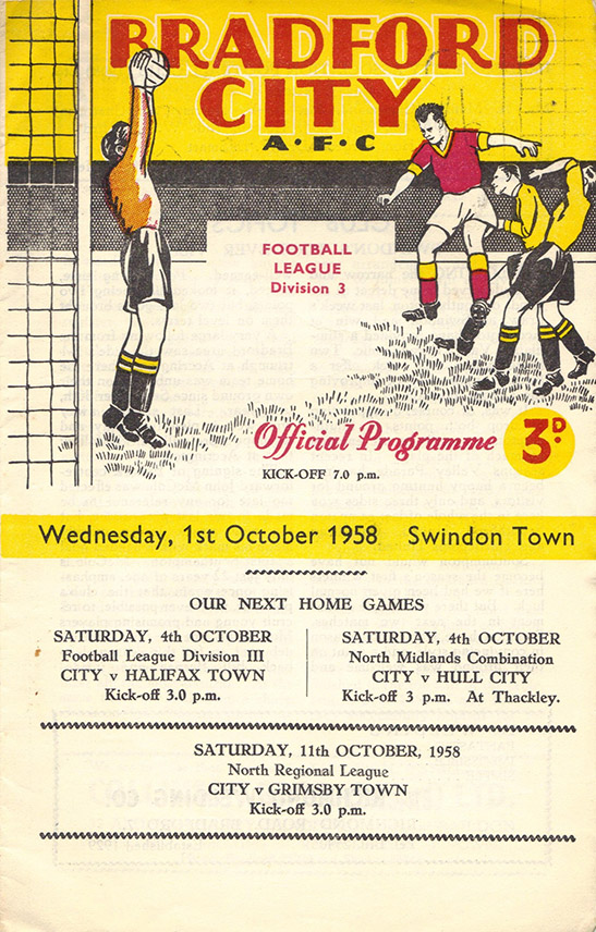 <b>Wednesday, October 1, 1958</b><br />vs. Bradford City (Away)