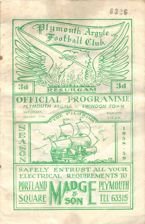 <b>Saturday, October 11, 1958</b><br />vs. Plymouth Argyle (Away)
