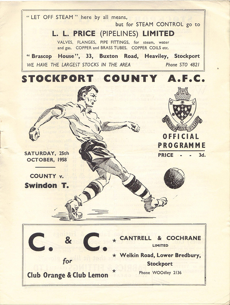 <b>Saturday, October 25, 1958</b><br />vs. Stockport County (Away)