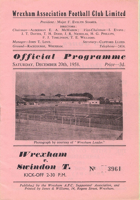 <b>Saturday, December 20, 1958</b><br />vs. Wrexham (Away)