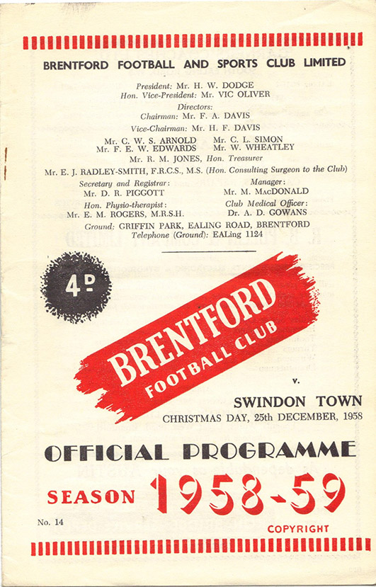 <b>Thursday, December 25, 1958</b><br />vs. Brentford (Away)