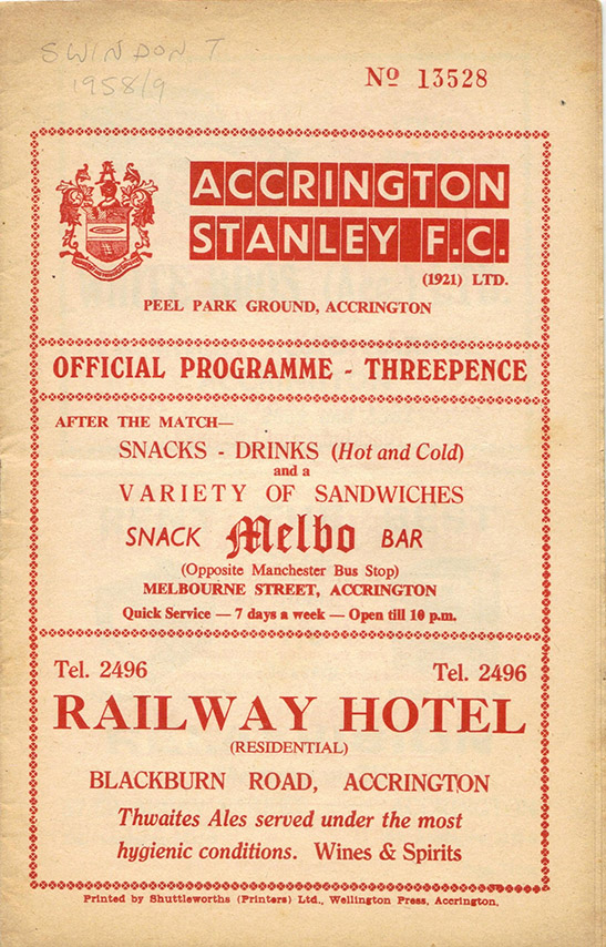 <b>Wednesday, February 18, 1959</b><br />vs. Accrington Stanley (Away)