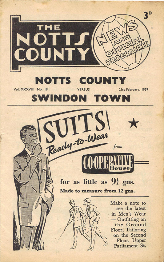 <b>Saturday, February 21, 1959</b><br />vs. Notts County (Away)