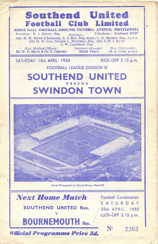 <b>Saturday, April 18, 1959</b><br />vs. Southend United (Away)