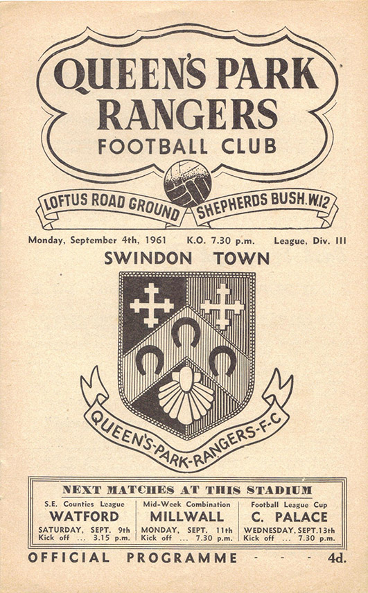 Monday, September 4, 1961 - vs. Queens Park Rangers (Away)