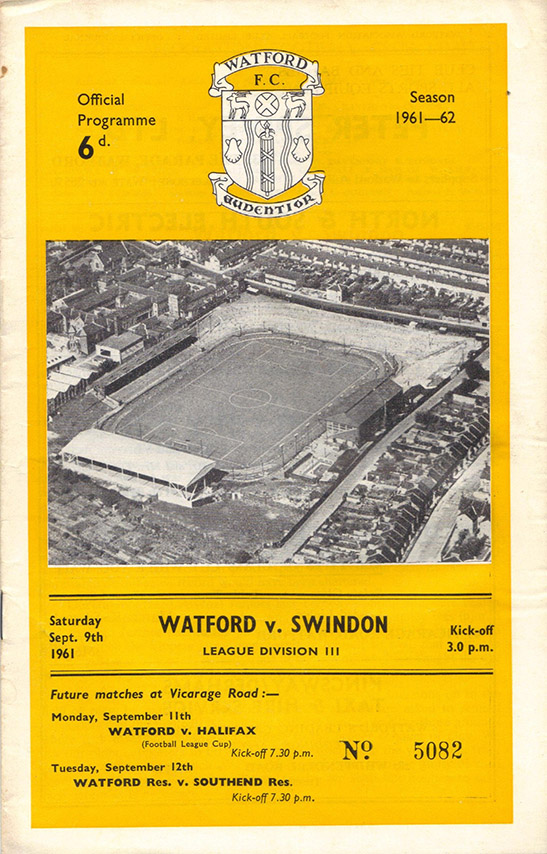 Saturday, September 9, 1961 - vs. Watford (Away)