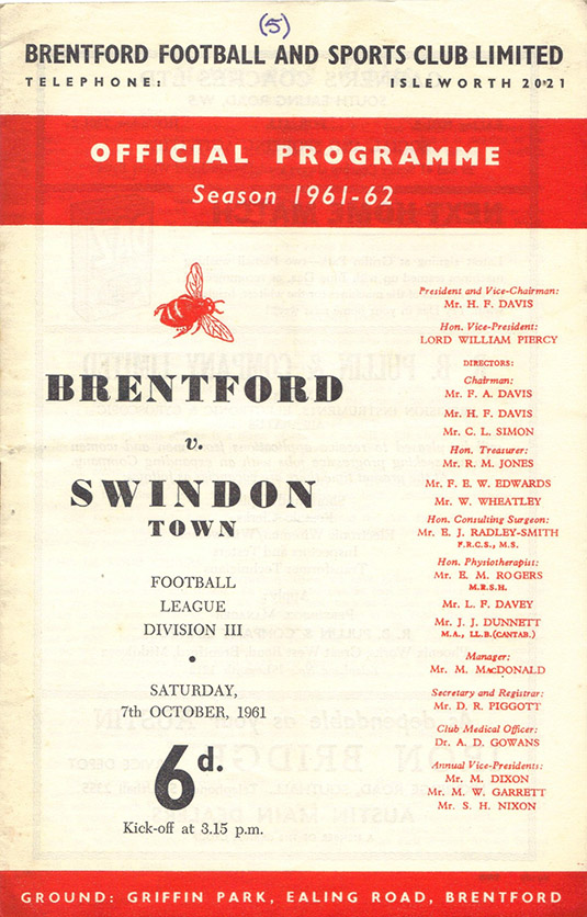 Saturday, October 7, 1961 - vs. Brentford (Away)