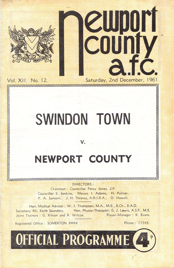 Saturday, December 2, 1961 - vs. Newport County (Away)