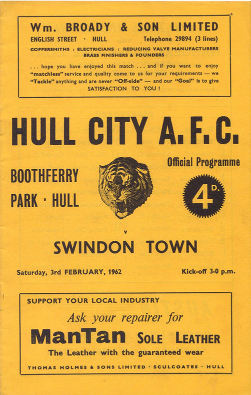 Saturday, February 3, 1962 - vs. Hull City (Away)