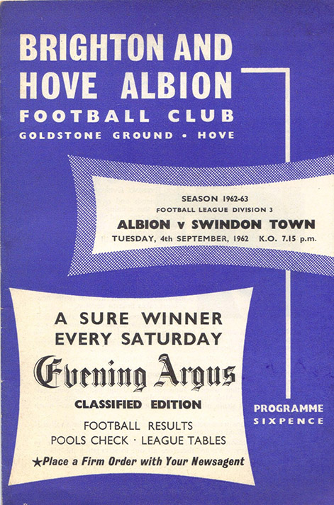 Tuesday, September 4, 1962 - vs. Brighton and Hove Albion (Away)