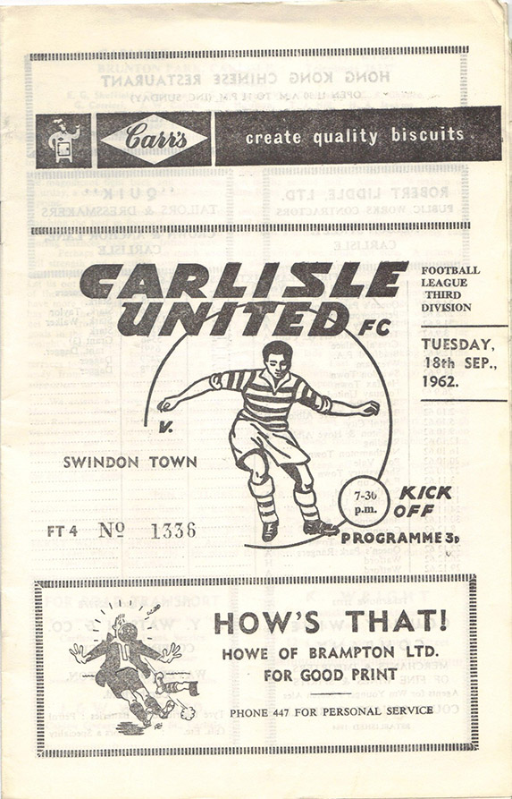 Tuesday, September 18, 1962 - vs. Carlisle United (Away)