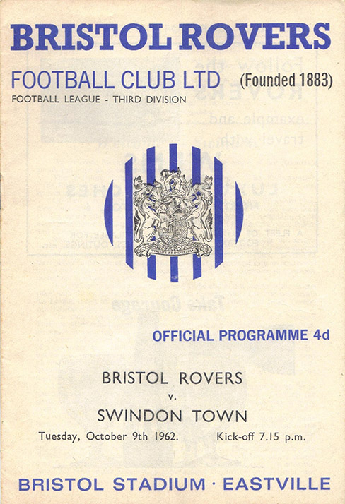 Tuesday, October 9, 1962 - vs. Bristol Rovers (Away)
