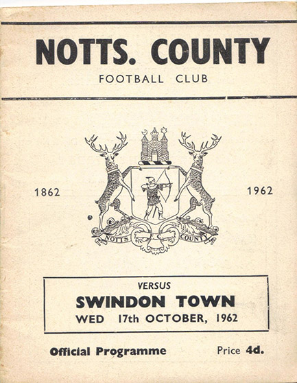Wednesday, October 17, 1962 - vs. Notts County (Away)