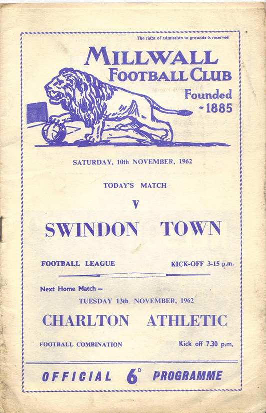 Saturday, November 10, 1962 - vs. Millwall (Away)