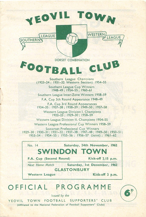 Saturday, November 24, 1962 - vs. Yeovil Town (Away)