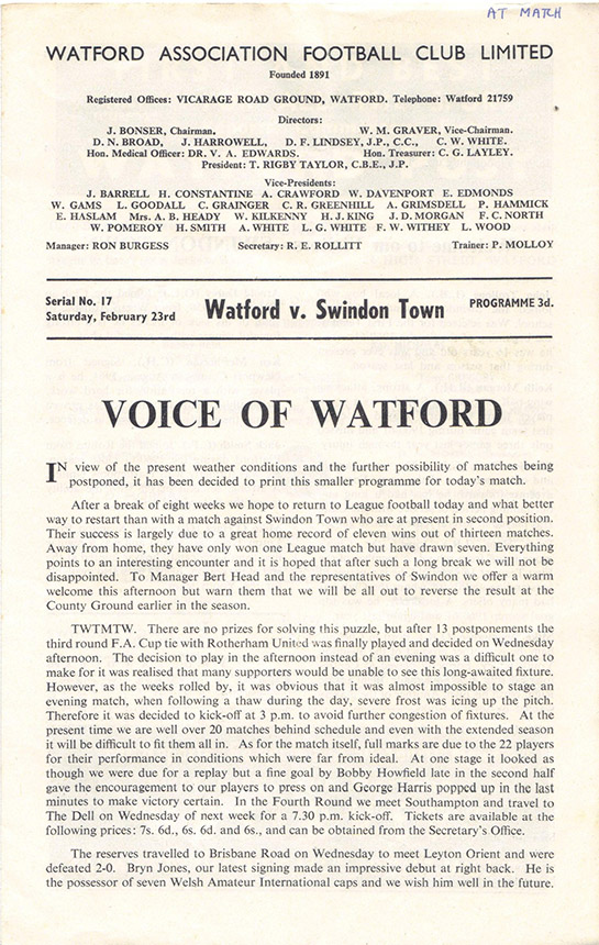 Saturday, February 23, 1963 - vs. Watford (Away)