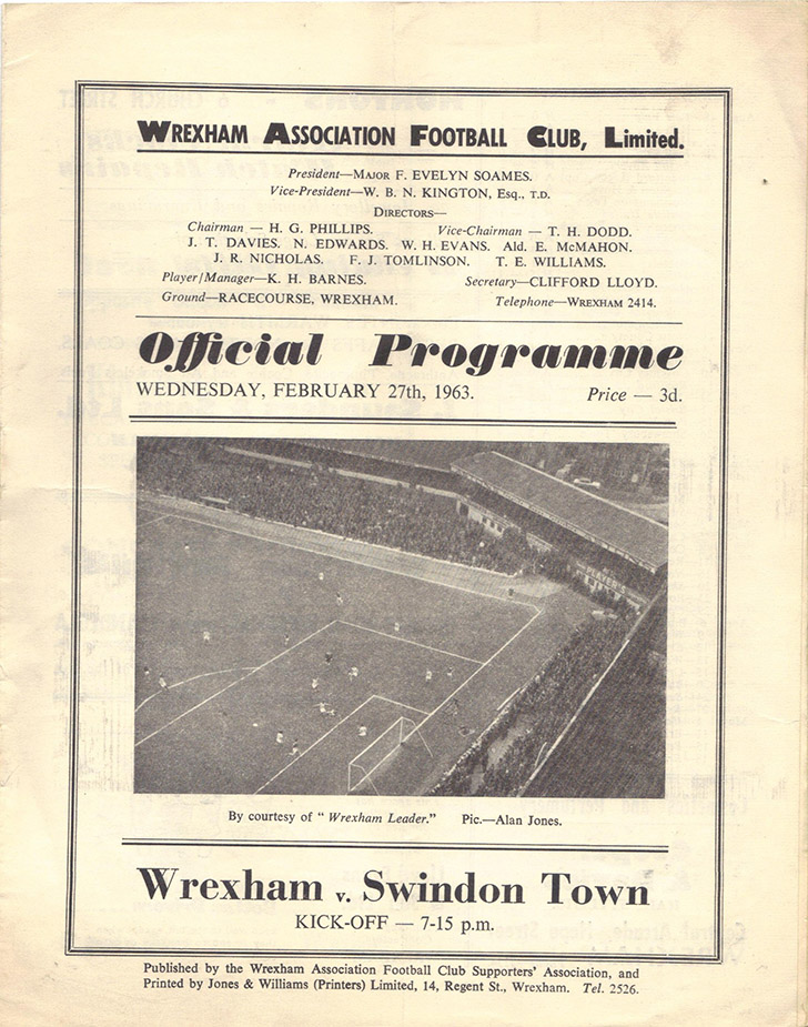 Wednesday, February 27, 1963 - vs. Wrexham (Away)