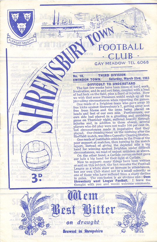 Saturday, March 23, 1963 - vs. Shrewsbury Town (Away)