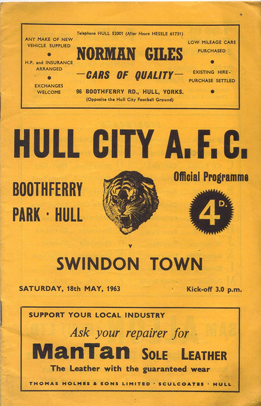 Saturday, May 18, 1963 - vs. Hull City (Away)
