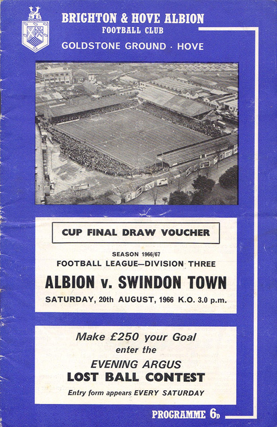 <b>Saturday, August 20, 1966</b><br />vs. Brighton and Hove Albion (Away)