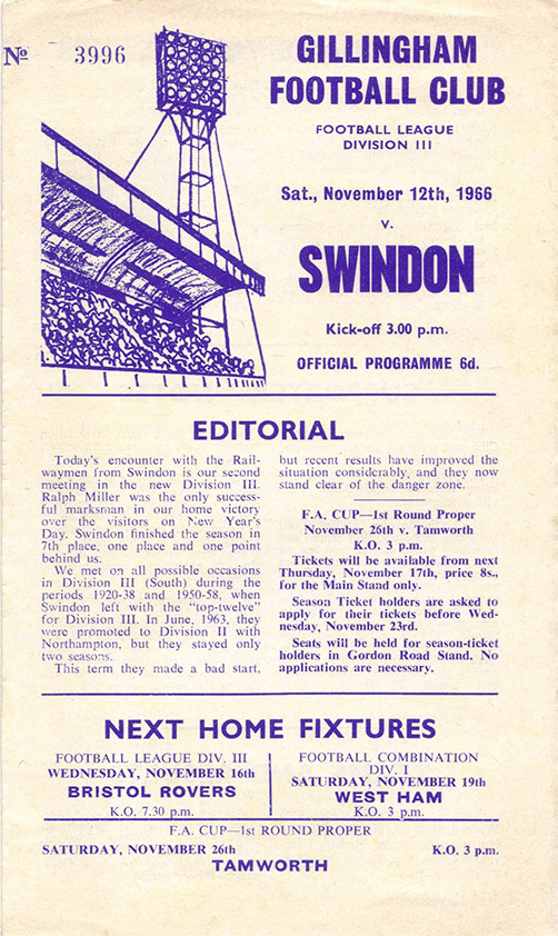 <b>Saturday, November 12, 1966</b><br />vs. Gillingham (Away)