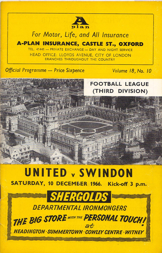 <b>Saturday, December 10, 1966</b><br />vs. Oxford United (Away)