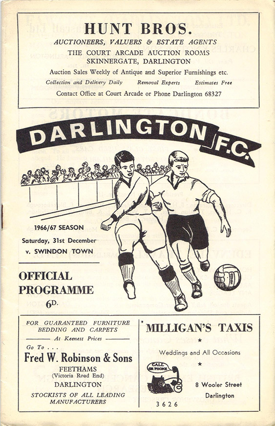<b>Saturday, December 31, 1966</b><br />vs. Darlington (Away)