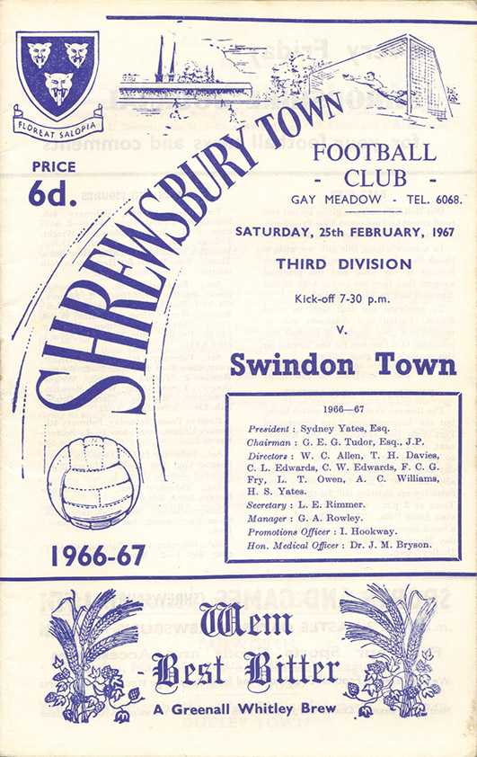 <b>Saturday, February 25, 1967</b><br />vs. Shrewsbury Town (Away)