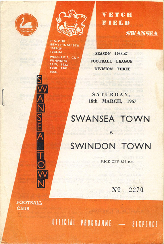 <b>Saturday, March 18, 1967</b><br />vs. Swansea Town (Away)