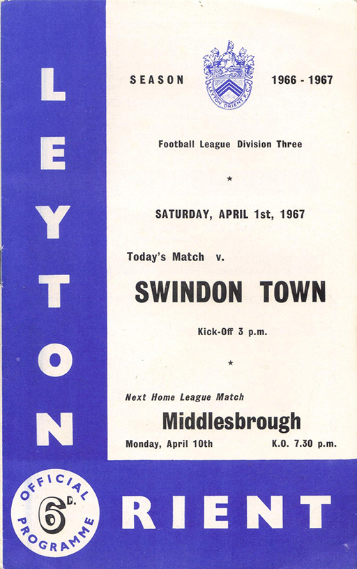 <b>Saturday, April 1, 1967</b><br />vs. Orient (Away)