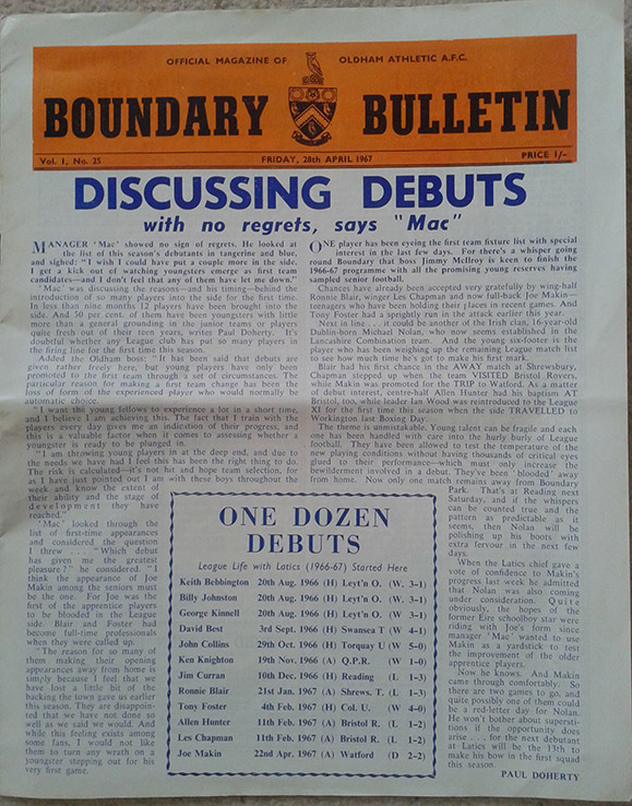 <b>Friday, April 28, 1967</b><br />vs. Oldham Athletic (Away)