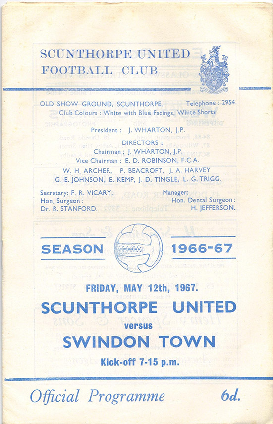 <b>Friday, May 12, 1967</b><br />vs. Scunthorpe United (Away)