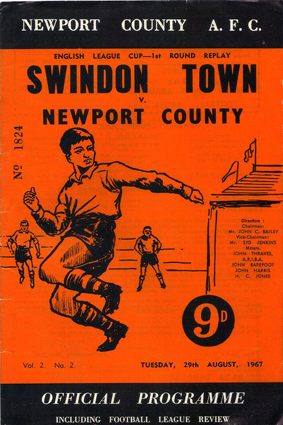 Tuesday, August 29, 1967 - vs. Newport County (Away)