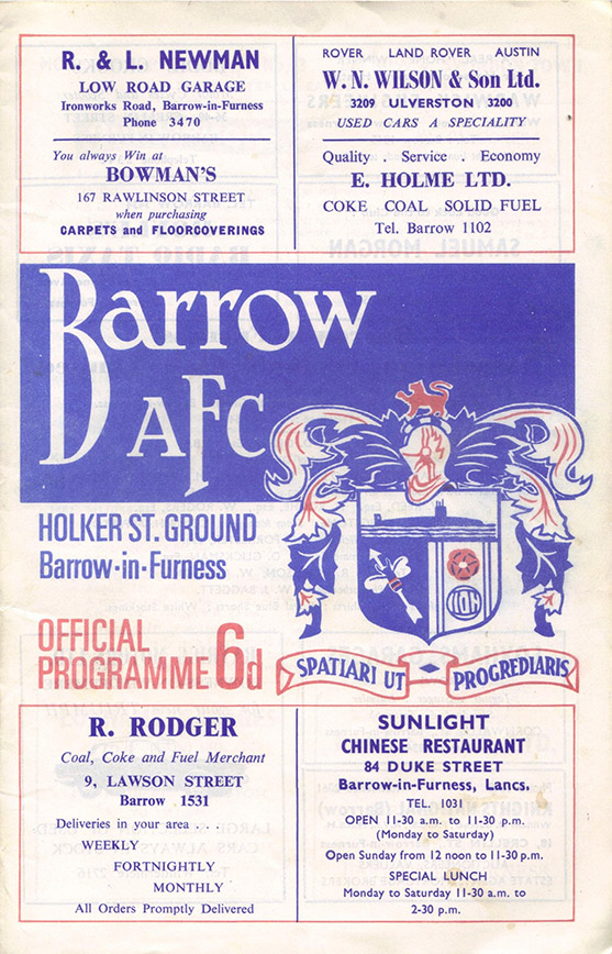 Monday, September 4, 1967 - vs. Barrow (Away)