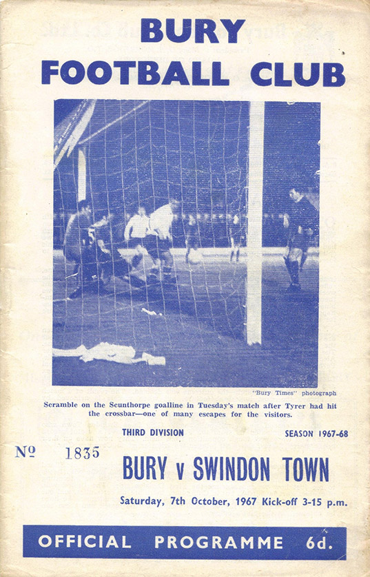 Saturday, October 7, 1967 - vs. Bury (Away)