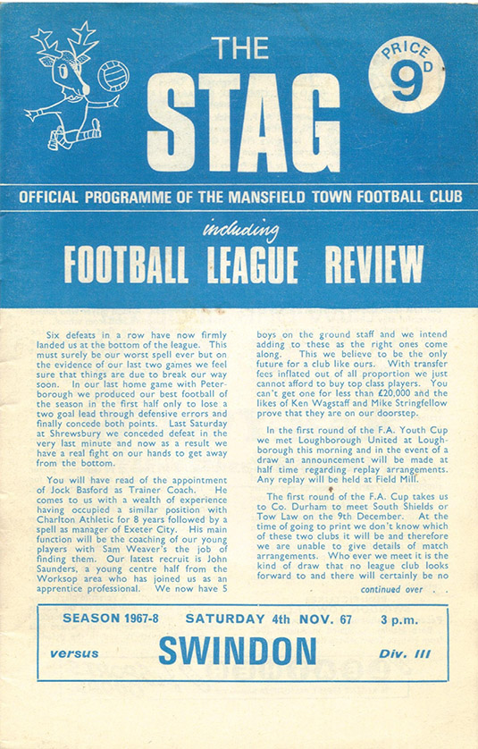 Saturday, November 4, 1967 - vs. Mansfield Town (Away)