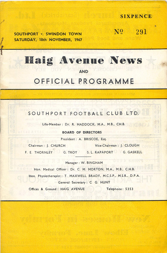 Saturday, November 18, 1967 - vs. Southport (Away)