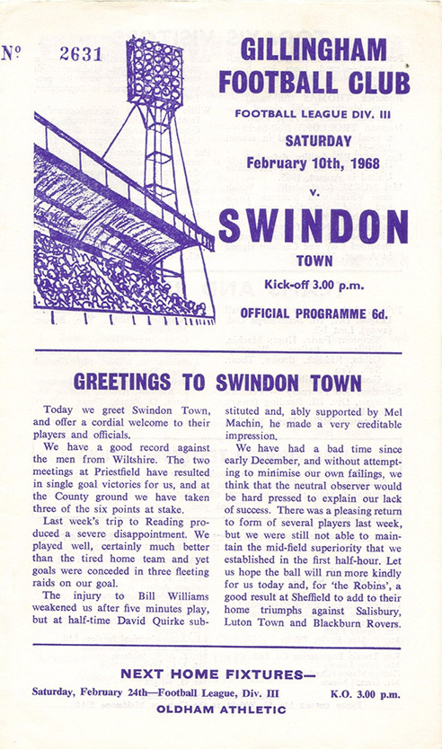 Saturday, February 10, 1968 - vs. Gillingham (Away)